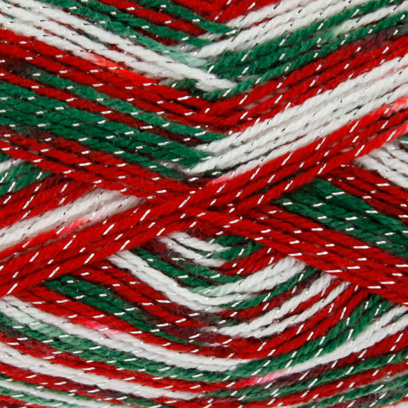 A green, red and white yarn with silver sparkles in.