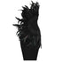 Party Dress Feather Design, Strapless Backless Sleeveless Bandage Mini Dress.