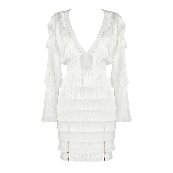 White Fringe Bandage Dress
