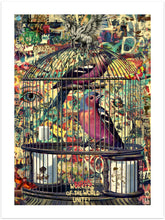 Birds in Cage - original kunst fra Helt Sort Galleri