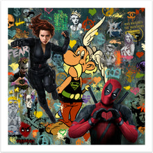 Bohemian Rhapsody - moderne pop art kunst med Deadpool og Asterix m.fl. fra online galleriet Helt Sort Galleri