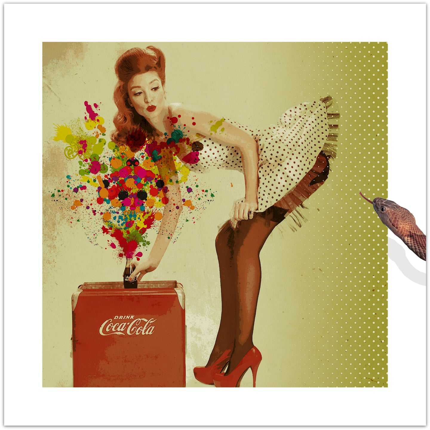 Drink Coca-Cola - pop art kunst af Helt Sort
