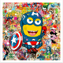 Minion Hero - pop art kunst med en Minion udklædt som Captain America fra online galleriet Helt Sort Galleri