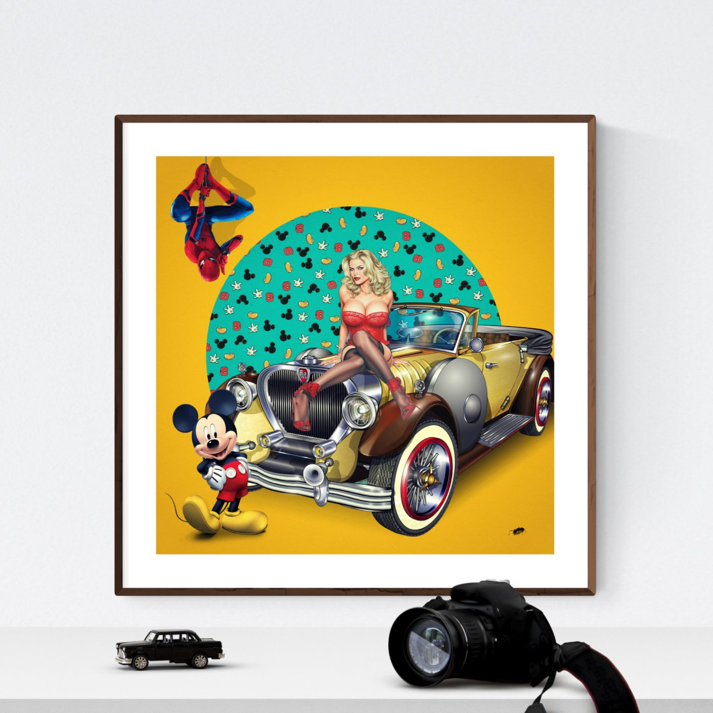 The Car Show - pop art giclée kunsttryk af Helt Sort