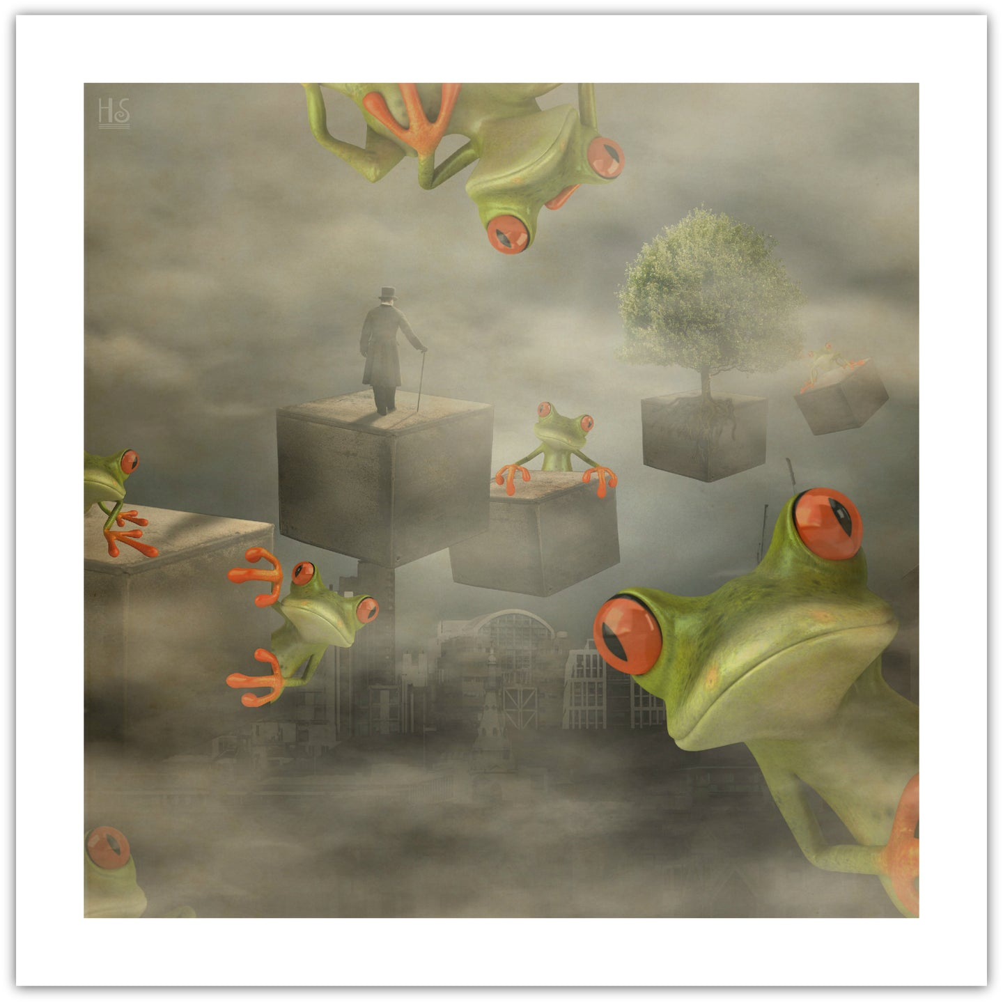 Fog and Frogs - surrealistisk kunsttryk af Helt Sort