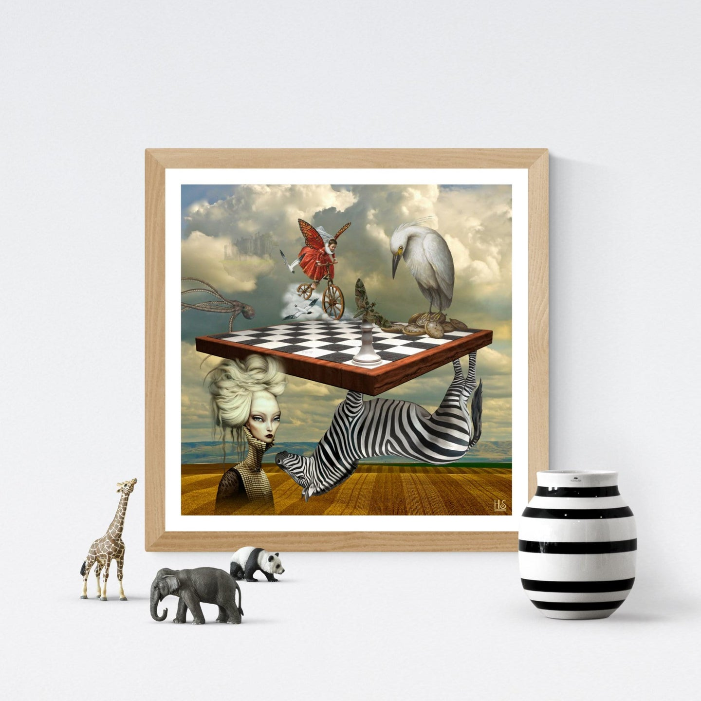 Zebra Upside Down - surrealistisk kunst af Helt Sort