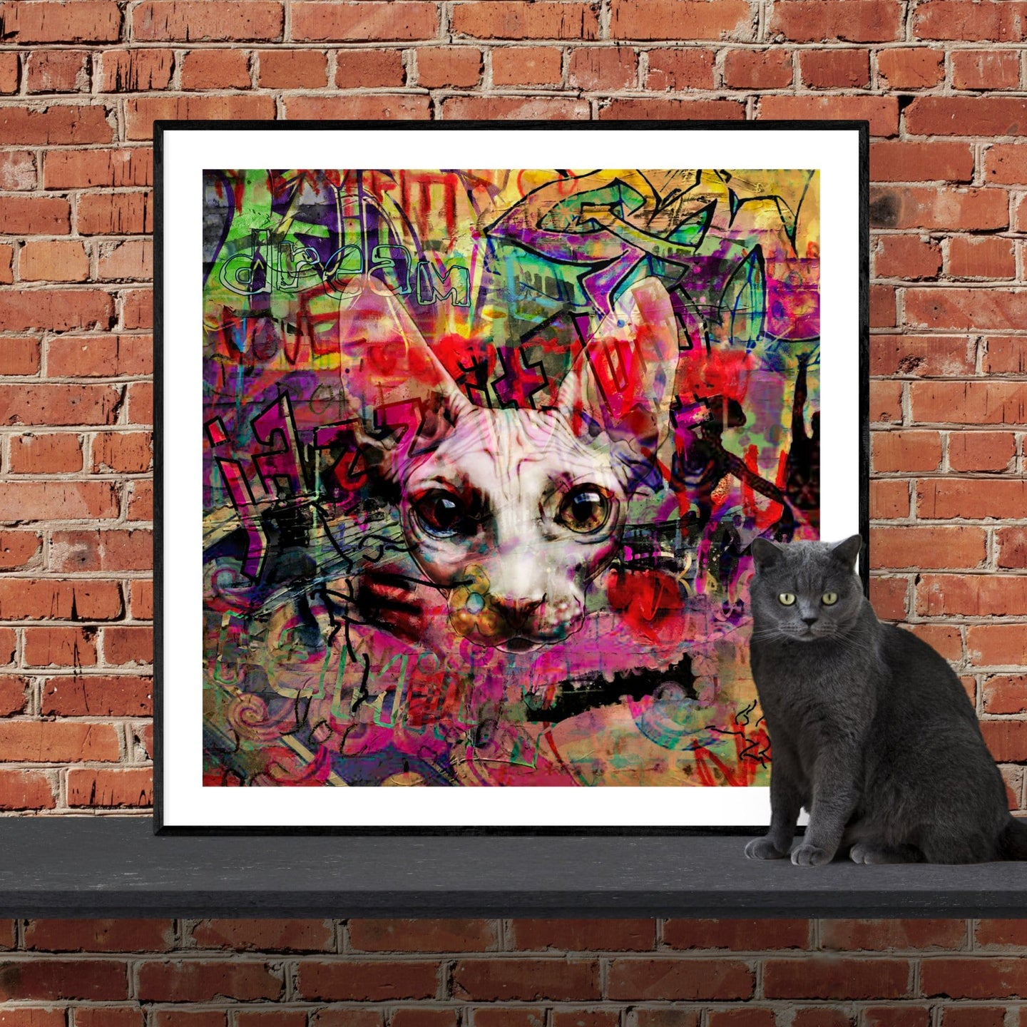 The Graffiti Cat - pop art kunst af Helt Sort