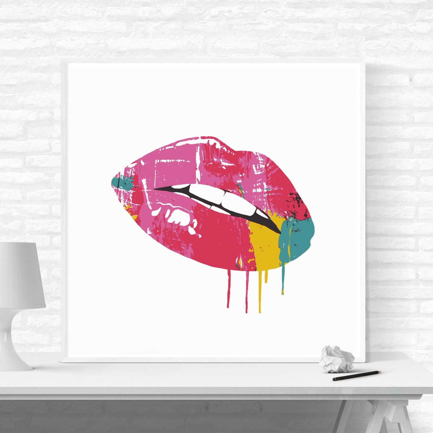 Dripping Lips - pop art kunsttryk af Helt Sort