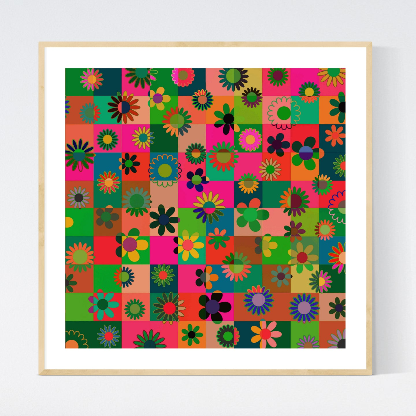 Flowers and Cubes I - abstrakt kunsttryk af Helt Sort