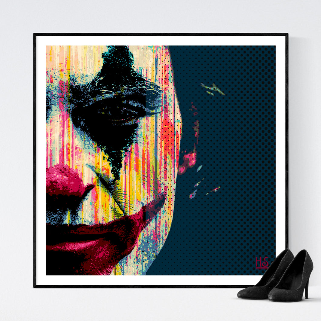 The Joker - pop art kunsttryk af Helt Sort