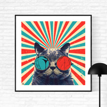 The Spectacled Cat - pop art kunst af Helt Sort