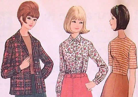 8380 McCall's Sewing Pattern / 1960's  Mod Outfit / Vintage Blouse, Jacket, Skirt / 60's Sewing / Mod Era / Mad Men / To Sir With Love