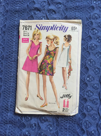 Simplicity 7671 Sewing Pattern / 1960's Dresses / Swinging London / Mod / Cocktail Dress