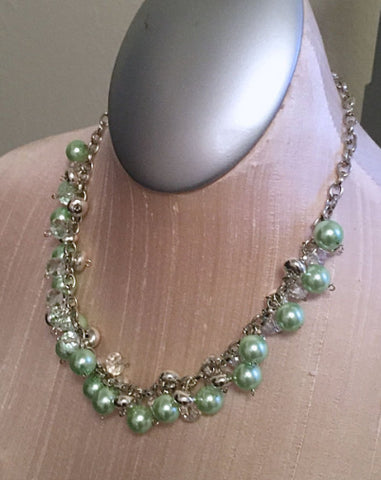 Pastel Green Pearl Charm Necklace / Vintage Inspired / Sparkle Jewelry / Silver Chain