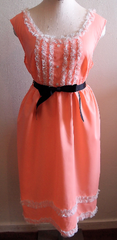 Vintage 1960's Tangerine Lace Dress / 60's Dress / Vintage Lace / Ruffle Dress / Mod Dress / Bright Orange
