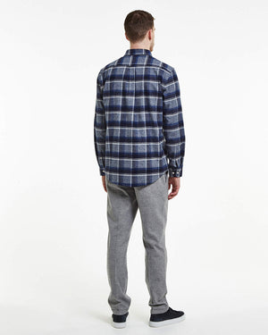 NEW DEREK 5938 Navy check skjorta NN07