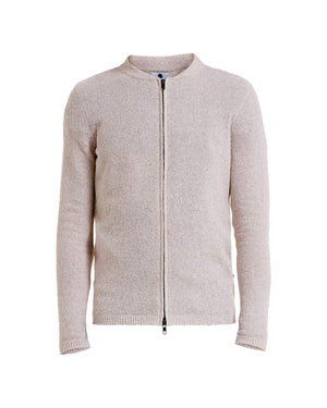 NN07 JAKE FULL ZIP 6259 CARDIGAN - OFF WHITE GREY/ECRU