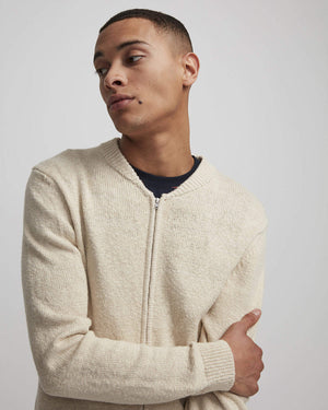 JAKE FULL ZIP 6259 CARDIGAN - OFF WHITE GREY/ECRU