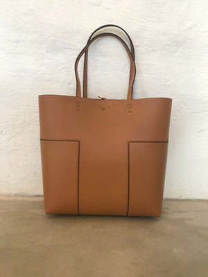 TORY BURCH BLOCK T TALL TOTE TAN