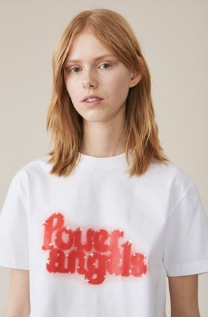 Ganni Harris T-shirt Power Angels vit