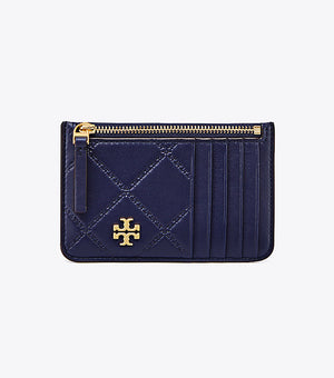 Tory Burch Georgia top zip card case royal navy