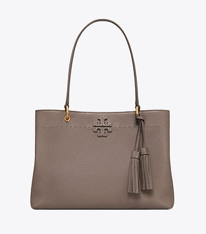 Tory Burch Mcgraw triple compartment tote silver maple