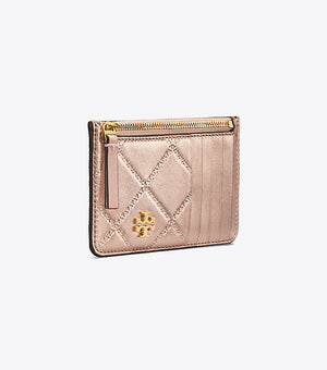 Tory Burch Georgia metallic top zip card case