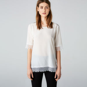 Tone top Jet stream white silkes t-shirt Fwss