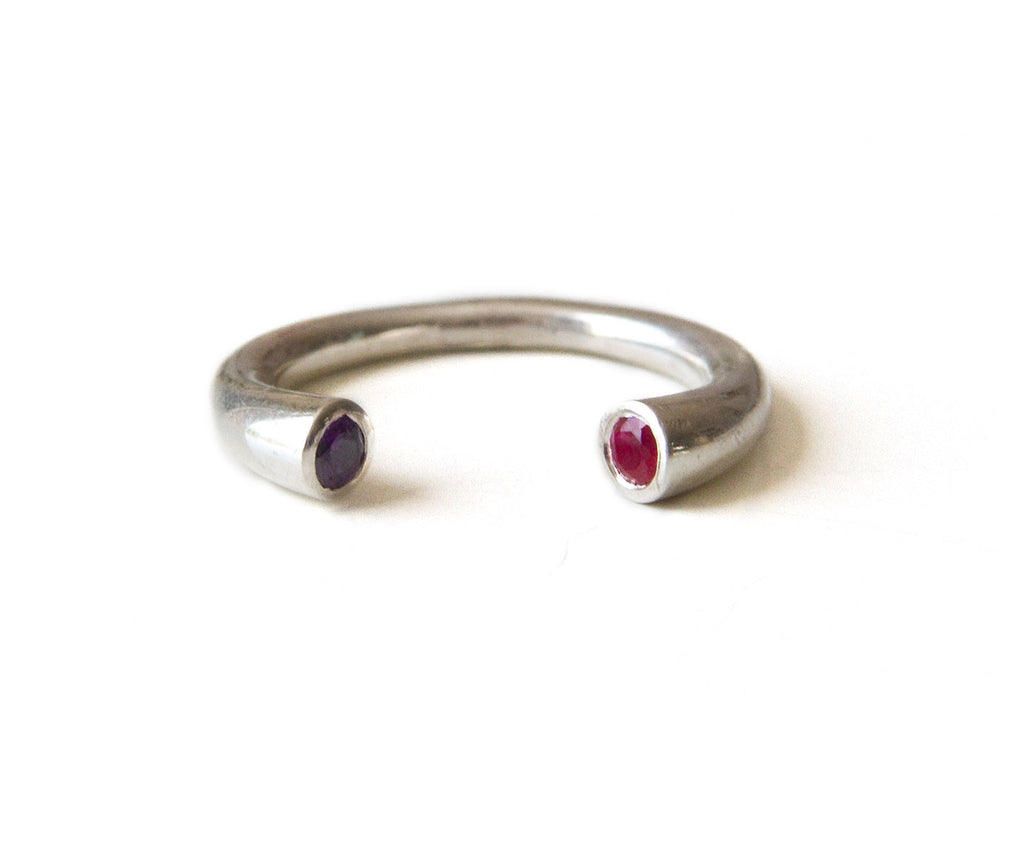 dual birthstone ring s birthstone ring stackable ring
