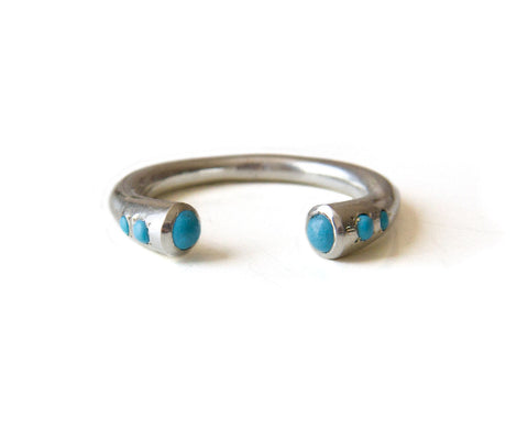 Turquoise stones Ring, Open Cuff Ring, Sterling Silver Stackable Ring, Boho Bohemian Jewelry, Unique Alternative December birthstone ring.