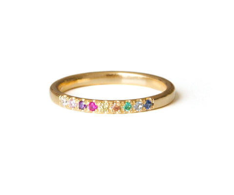 Pave Stacking ring, Thin Gemstone Ring, colorful Inlaid Ring, Jewel Encrusted Ring, Gold Filled OR Sterling Silver Ring