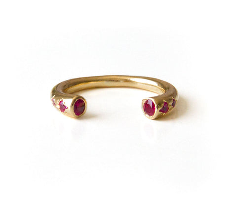 Open Cuff Ring, Ruby ring, 14K Gold Filled Stackable Ring, Boho ring, Bohemian Jewelry, Unique Alternative July birthstone ring.