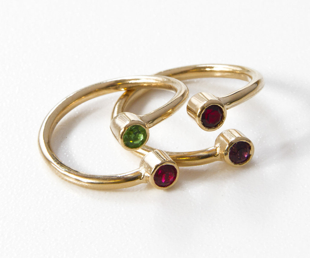 dual birthstone ring one 14k gold filled stacking ring mothers