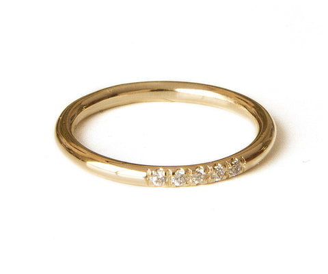 Diamonds ring In Pave Set, Dainty Stacking Ring, Thin Gold Band, 14k Gold Filled ring, Alternative engagement ring, Half eternity ring