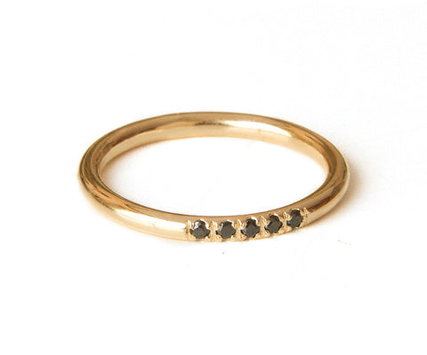 Gold and black Diamonds ring, Delicate Stacking Ring, Thin Gold filled Band, Alternative engagement ring, Half eternity band