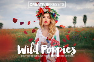 Wild Poppies Leaves Overlays - Photoshop Overlays - CreativePresets.com