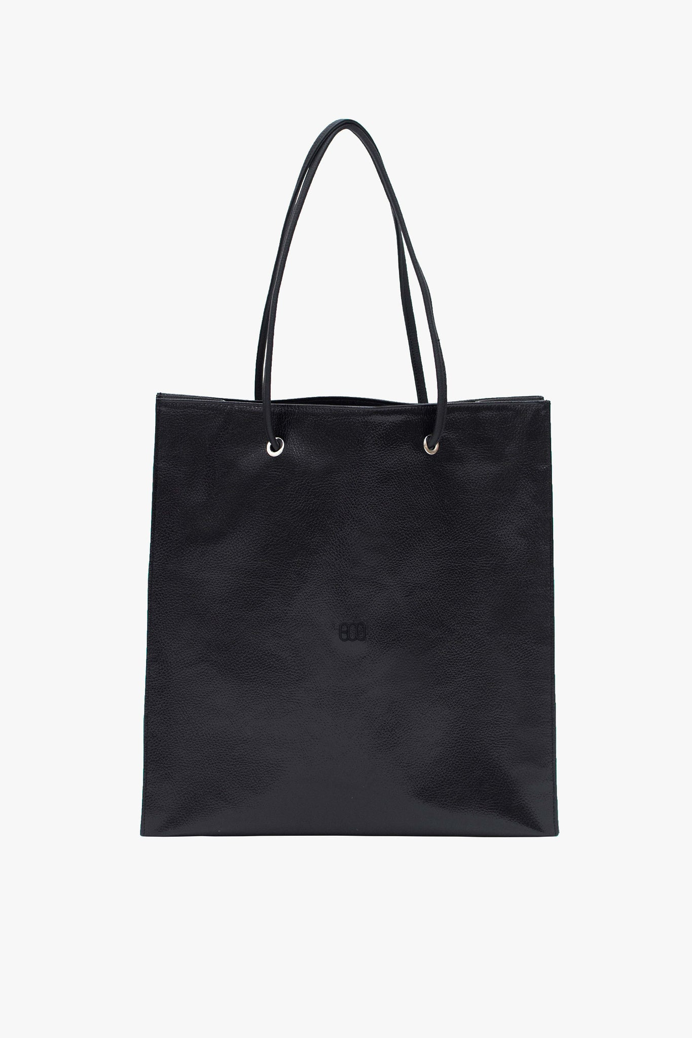 SHOPPING TOTE BAG WITH BLACK LOGO