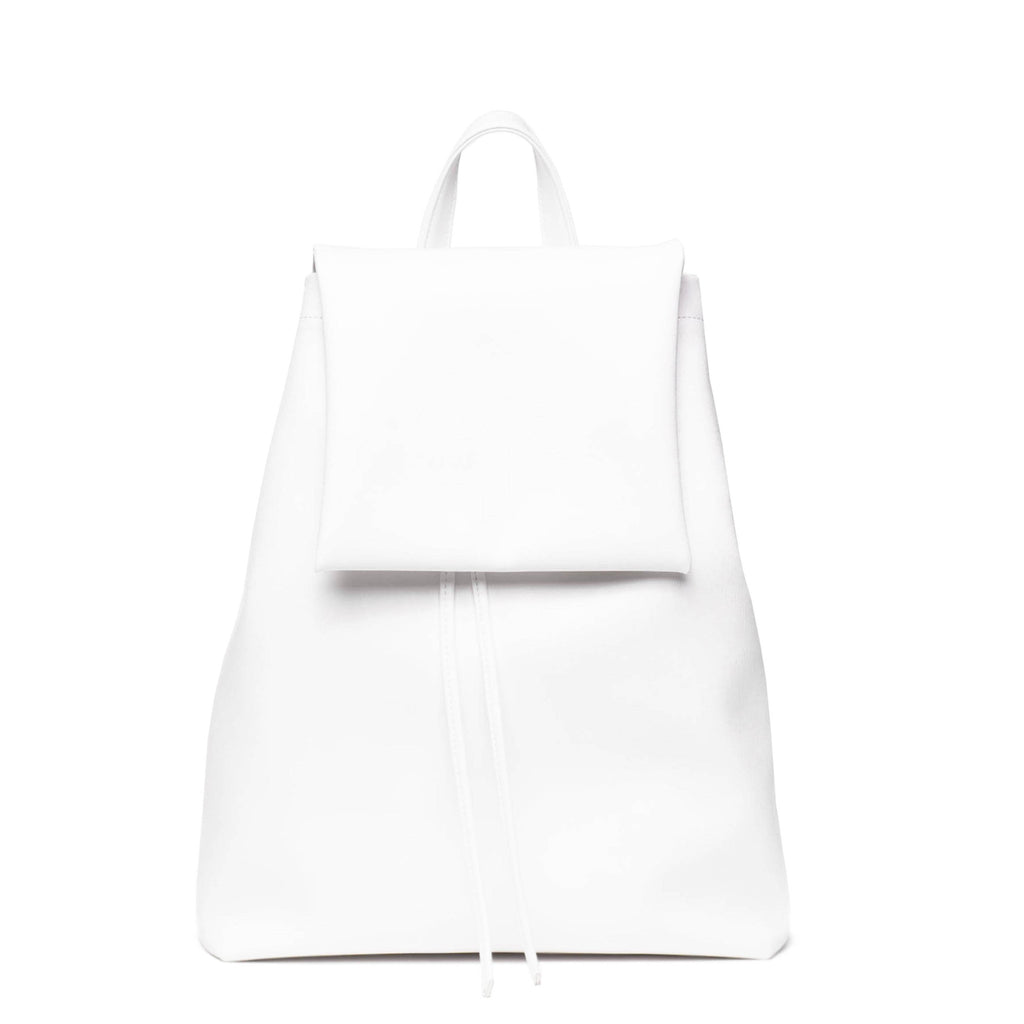 White minimalist backpack with flap