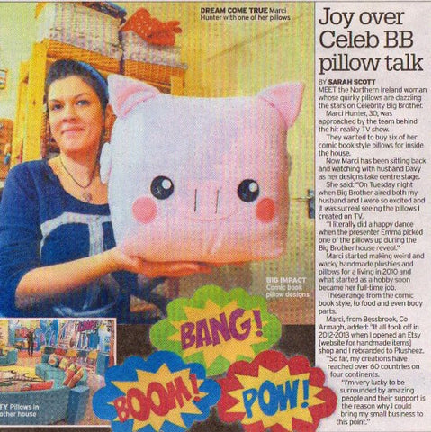 Article in Belfast Telegraph about our pillows being featured in the Celebrity Big Brother House