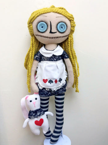 Dark Alice in wonderland doll - handmade