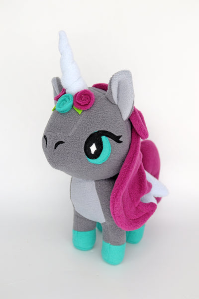 Grey Unicorn plushie - handmade to order