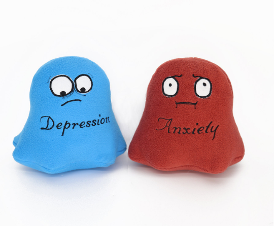 Depression and Anxiety Emotiboos , handmade soft toy