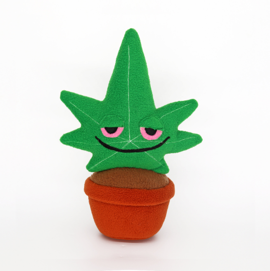 Stoned cannabis plant in pot plushie / pillow