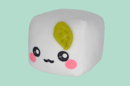 Tofu plush toy pillow cushion plushie food pretend play kawaii cute vegetarian fluffy cloudy