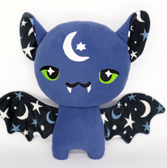 Stars and Moon bat plushie , made to order
