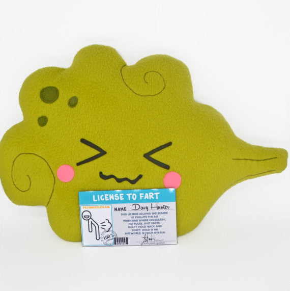 Fart pillow + laminated License to Fart - personalised with your name
