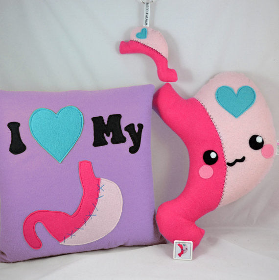Gastric Sleeve Care Package Get well bariatric set plush toy pillow cushion pin badge keychain