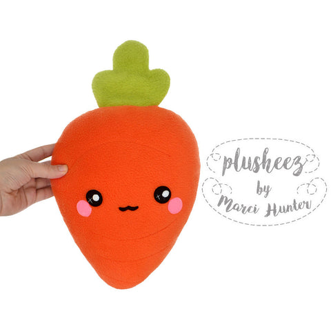 Carrot plushie - kawaii vegetable root handmade pillow / cushion