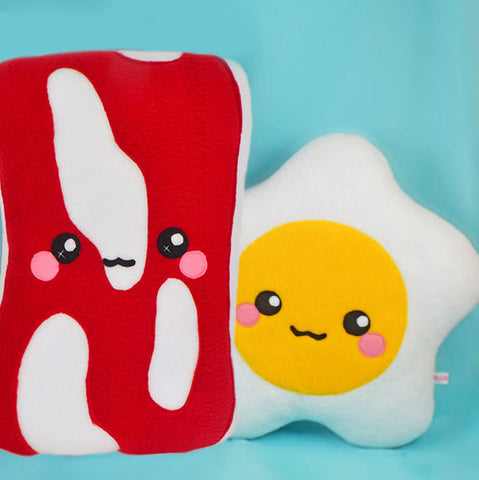 BIG Bacon and EGG plush toys pillows cushions geekery plushies kawaii breakfast