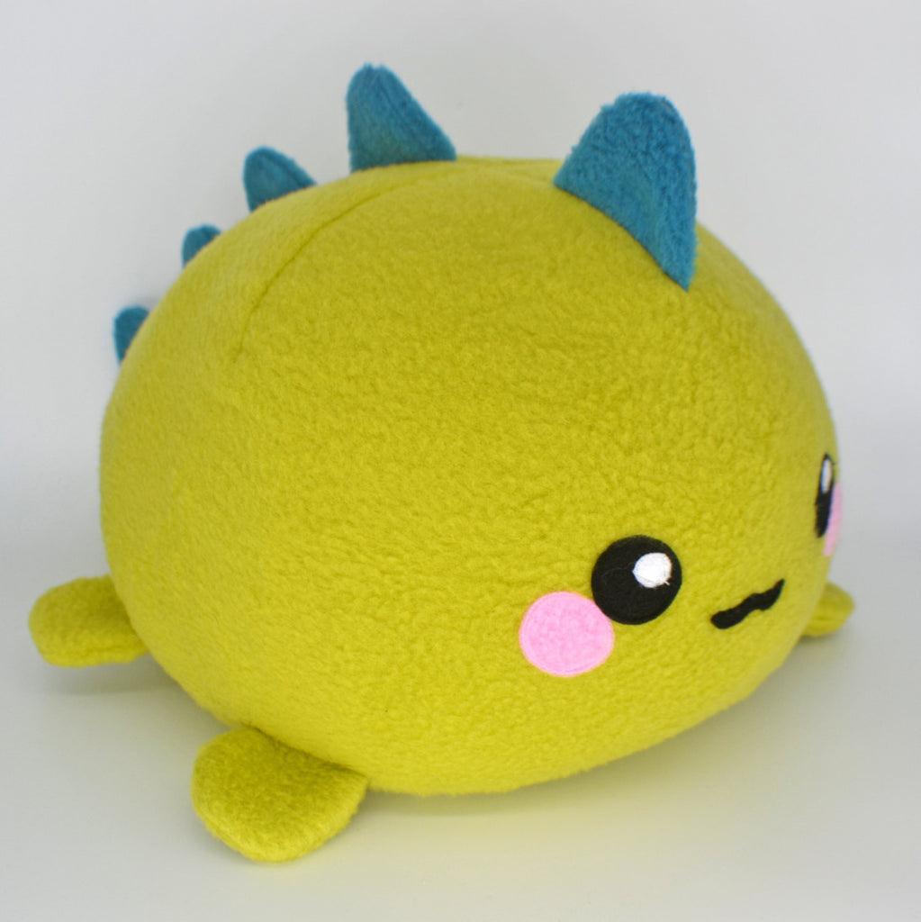 BIG Dinosaur plushie , handmade kawaii stuffed animal monster cute lime green rawr